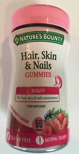 Nature's Bounty Hair Skin and Nails - 60 X berry gummies /Gluten Free/ Long Date