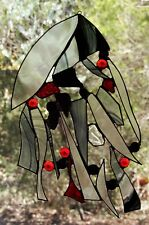 ' SACRED SPACE ' Abstract BLACK BAROQUE & RED CRYSTAL Stained Glass SUNCATCHER
