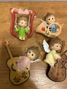 Vintage Angel Christmas Ornaments Made In Hong Kong  Set Of 4