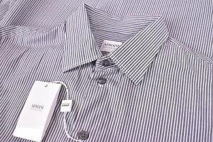 NWT Armani Collezioni Size Medium Gray White Dress Shirt Brand New