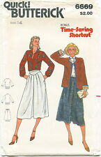 Butterick 6669 Misses Vintage Jacket Blouse Skirt Sewing Pattern Size 14 Uncut