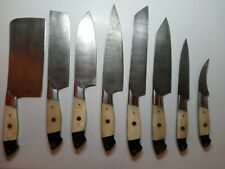 Hand Forged Damascus Steel Chef Kitchen Knife Set With Bone Handle 8 Piece Set