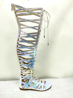 Cape Robbin Trinity Iridescent Gladiator Lace Up Flat Thigh Over Knee Sandals