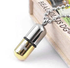 Anhänger Phiole SOS Notfallkapsel Kapsel gold/silber Edelstahl mit Kugelkette