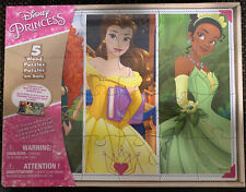 Disney Princess Tiana Cinderella Merida 5 Wood Puzzles & Tray Fit In Storage Box