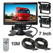 """12V-24V Monitor 7"""" + 2x Camera De Recul CMOS impermeable + 2x10m 4pin AV Cable"""