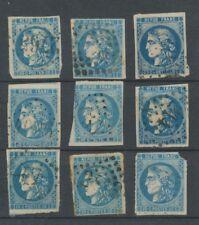 Lot de 9 Bordeaux N°46 20c Bleu. Qualité TTB, TB. L55