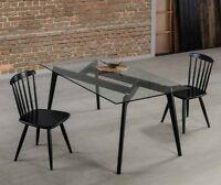 Esstisch Glastisch 3 Größen + Gestell Massiv Natur oder Schwarz Küchentisch