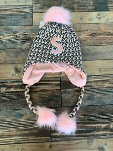 Justice Pompom Pink Initial S Earflap GLITTER Trapper WINTER Hat NWT