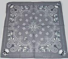New Unisex 100% Cotton Bandana/Scarf, Gray Paisley Print with Skull/Chain Border