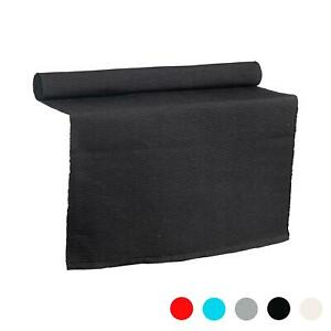 Table Runner Black Cotton Ribbed Fabric Cloth Dining Décor 183 x 48cm