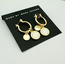 Hot Marc by Marc Jacobs White&Gold Classic Disc Letter Stud Earrings #E0077