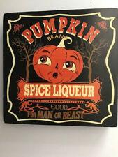 Halloween Glitter Spiced Pumpkin Hanging Wood Block Shelf Sitter Sign 6inch New