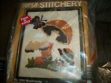 New listing Vintage Mushrooms Stitchery Kit, Unopened