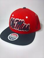 Ole Miss Mississippi Rebels Zephyr Adjustable Snapback Red Cap Hat Blue Bill