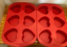 2 Wilton 6 Cavity Silicone Heart Mold Pan