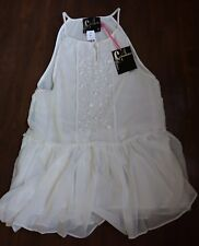 Woman sleeveless tunic top off-white romantic embroidery 158$ sz 6 Chandelier