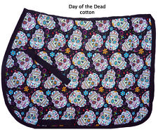 """DAY OF THE DEAD"" BLACK SUGAR SKULL FLOWERS ENGLISH DESIGNER PRINT SADDLE PAD"