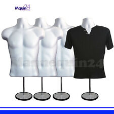 4 White Mannequin Male Torsos w/4 Stands + 4 Hangers 4 Men's Dress Forms