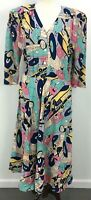 VTG 80s Carol Anderson Multicolored Funky Car Print Maxi Dress Womens Sz 14/15