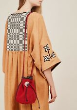 Free People Nirmala Drawstring Bucket Bag and Wallet Ruby Red Leather