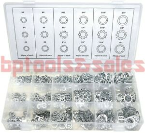 720pc ASSORTMENT SPRING LOCK EXTERNAL & INTERNAL TOOTH LOCK WASHER SET 18 SIZES
