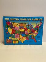 Vintage Wooden Peg Puzzle The United States Of America - Complete!