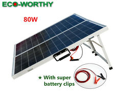 Portable 80W  Folding Solar Panel Kit for 12V Battery Power Charge RV off Grid