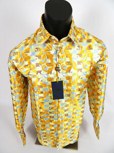 Mens Manzini Dress Shirt Gold Yellow Florals Sheen French Cuff Link Button Up 3X