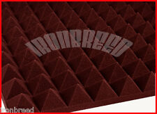 """(48 Pack) 2""""x 12"""" x 12"""" BURGUNDY Acoustic Pyramid Studio Soundproofing Foam USA"""