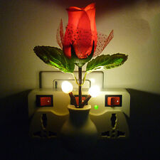 Rose Flower Vase LED Wall Lamp Plug-in  Night Light Home Decoration