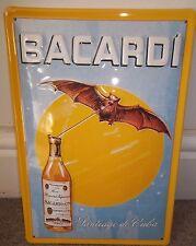 BACARDI CUBAN RUM/FLYING BAT :EMBOSSED(3D) METAL ADVERTISING SIGN 30X20cm, CUBA