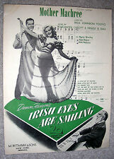1944 MOTHER MACHREE Sheet Music IRISH EYES ARE SMILING by Olcott Ball JUNE HAVER