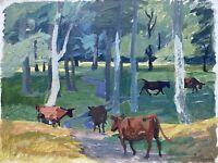 Karl Adser 1912-1995 Öl Kühe im Wald auf der Insel Romsø Dänemark