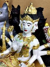 THAI AMULET DEITY BRONZE STATUE PHA-PHOM 4 FOUR FACE GOD NOOIN LARGE 8 ARM PAINT