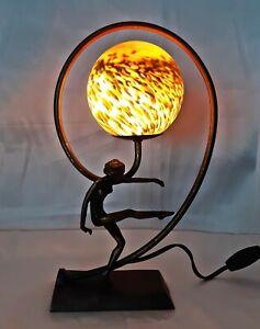 Vintage Art Deco Art Nouveau Figural Female Nude Lady Table Lamp