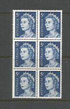 Australia 1966 5c Blue QE II Definitive Block of 6 Unmounted Mint SG 386c