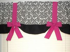 "Damask Black White Hot Pink Teal Red Custom Handmade Window Curtain Valance 54""W"
