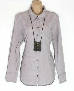 Women's OPUS Fitted Purple White Thin Gingham Cotton Shirt Blouse Top Size UK16