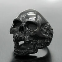 Men's Gothic Rocker Biker Vintage Huge Black 316L Stainless Steel Skull Ring