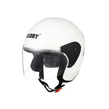 MP Glory WhiteTrack Paint Open Face Motorcycle Scooter Helmet with ISI Mark