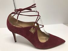 NW0B SALVATORE FERRAGAMO FIDAN BURGUNDY SUEDE LACE UP PUMPS sz 10 $750