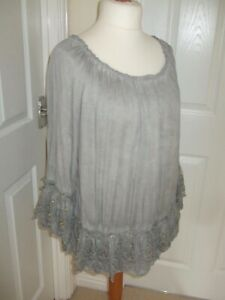 MADE IN ITALY OSFA Size 16/18/20/22 Gorgeous Grey Top Tunic Layer Lagenlook
