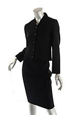 RALPH LAUREN Black Wool Blend Heavy Knit Unlined Skirt SUIT Crop Jacket US 6