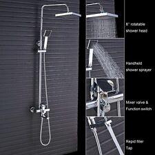 Shower Faucet Set Head Tub Spout Hand Sprayer Chrome Shower System Mixer Combo