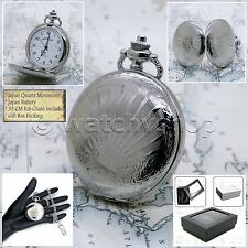 Silver Antique Pocket Watch 42 MM Medium Size with Fob Chain & Gift Box P178