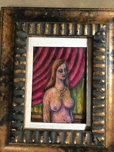 """Lewis J Miller """"Nude Female Indoor Scene"""" Encaustic Painting - Signed/Framed"""