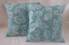 "16"" Cushion Cover Blue Teal Off-White Leaf Print New Handmade 40cm"