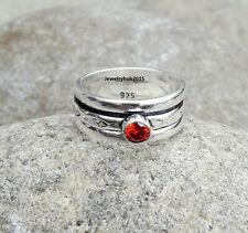 Garnet Ring 925 Sterling Silver Spinner Handmade Meditation Ring Size 7 MA047