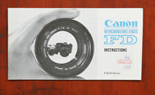 CANON FD LENSES INSTRUCTION BOOK, LOOKS, 09/73/148481